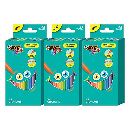 BIC Kids Crayons, Break Resistant, Wrap-Free, Long-Lasting Coloring, Vivid Assorted Colors, 24-Count - Pack of 3