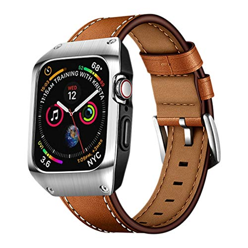 EloBeth 44mm Band Case Compatible with Apple Watch Band 44mm Series 6/5/4 & Apple Watch SE 44mm Bands, Genuine Leather Bands & Metal/PC Protective Case for iWatch Series 6/5/4/SE 44mm (Brown/Silver)