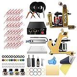 Wormhole Complete Tattoo Kit 2pcs Coil Tattoo Machine Tattoo Guns Color Immortal Inks Power Supply Needles Tips Grips Tattoo Supplies for Tattoo Artists (TK105(2gun))