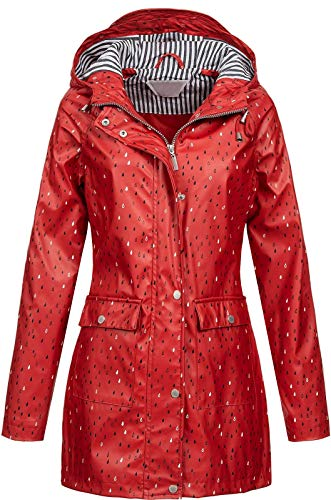 Top Fuel Fashion Damen Regenjacke Kurzmantel Gerda Tropfenmuster Kapuze Fond red XL
