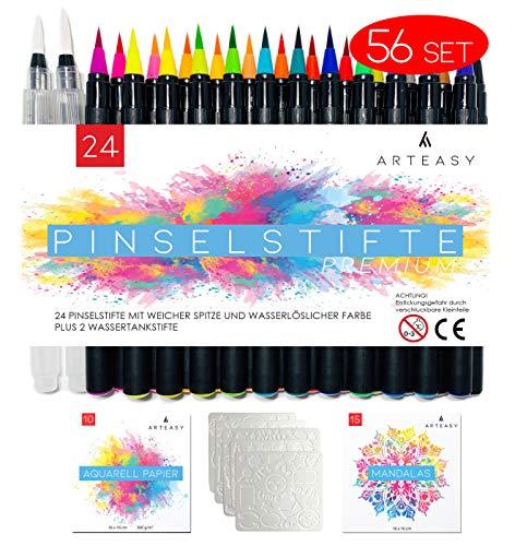 Arteasy Pinselstifte, 56er Set mit 24 Stiften und 2 Wassertankstiften, hochwertige Brush Pen Fasermaler, Aquarell Pinselstifte für Kalligraphie, Handlettering, Mandala malen