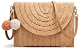 Straw Shoulder Bag Straw Clutch Women Hand-woven Straw Crossbody Bag Summer Beach Envelope Purse Wallet Khaki