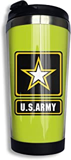 U.S. Army Logo And Symbol Stainless Steel Insulated Travel Mug For Coffee & Tea Thermos Keeps Drinks Steaming Hot Or Ice Cold Outdoor With Spill-Proof Lid