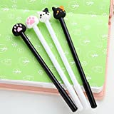 Buytra 24 Pack Cute Cat Paw Prints Gel Roller Ball Pens with 0.5mm Fine Point, Black Ink, Stationery Office Supplies, Back to School, Birthday Gift for Kids