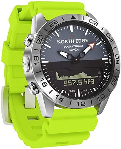 Al aire libre Hombres s Deportes Reloj Multifunción Doble Pantalla Digital Reloj 200M Impermeable 50M Profundidad Buceo Reloj Altitud Presión Aire Brújula Calorías Relojes Naranja-Verde
