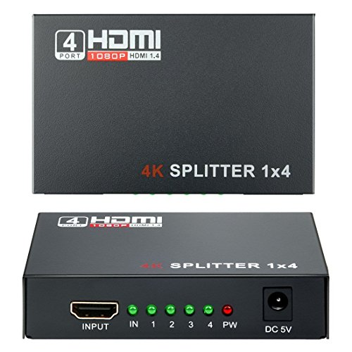 HDMI Switch 1x4 (1 ingresso 4 uscite), Wrcibo HDMI Splitter Distributore digitale con Full HD 1890 * 2160, 4K*2K, 3D – Nero
