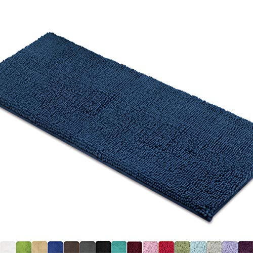MAYSHINE Non-Slip Bathroom Rugs Shag Shower Mat Machine-Washable Bath Mats Runner with Water Absorbent Soft Microfibers - 27.5x47 Inches Dark Blue