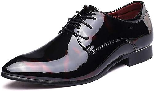 FuWeißncore Herrenschuhe Leder Frühjahr Herbst Mode Spitz Schuhe Formale Schuhe Oxfords schnüren Sich Business Schuhe SchwarzRot   Blau Hochzeit (Farbe   EIN, Größe   39) (Farbe   C, Größe   46)