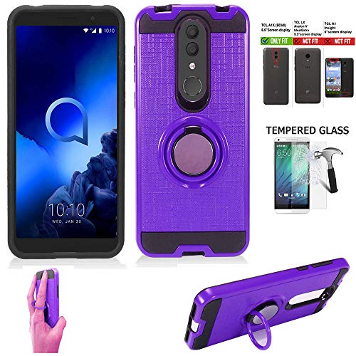 Wireless Accessories Phone Case Compatible with Tracfone Alcatel TCL A1X Case/TCL A1X A503DL Case/Onyx Case +Tempered Glass Shock Absorbing Slim Cover Ring-Holder(Slim Ring Purple +Tempered Glass)