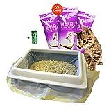 Moliwen 3 emballages de 21 Sacs à Litière 91.5 × 45.7 cm pour Chat, Sacs avec Poignées pour Bac à Litière de Moyenne et Grande Taille, 1 Rouleau (15 pièces) de Sac à ordures en Cadeau