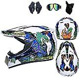 HBRE Casco Moto Integral,Certificado CE Integral Casco De Seguridad con Gafas Visor Bufanda con Gafas Visor Bufanda para Deportes Al Aire Libre 54-61cm,5,M