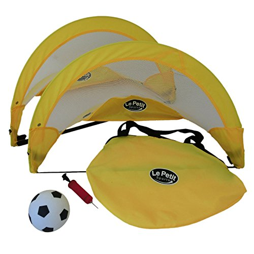 LPS - (Paire) Cage de Football Portable et Dépliable (Pop-Up) 80cm (2.5FT) avec Poche Arrière de Rangement Zippée et Ballon de taille 3 (15 cm)