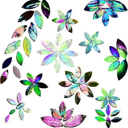 PALJOLLY 120 Pcs Iridescent Glass Petal Mosaic Tiles, Stained Glass Petals, Flower Leaves Mosaic Pieces, Mosaic Supplies Kit for Crafts, Assorted Size and Colors