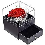 Rosa Eterna, Viene con Caja de Joyas, Rosa Preservada Eterna Hecha a Mano Rosa Preservada con Amor, Auténticas Rosas Conservadas de Primera Calidad -Rojo