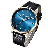 腕時計 メンズ シンプル おしゃれ 超薄型 軽量 クラシック アナログ腕時計 ビジネス 防水 革ベルト ブラッ クブルー