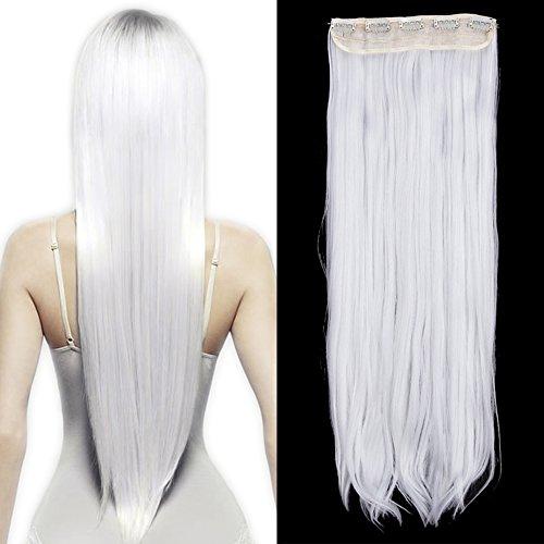 26'(66cm) Extensiones de Cabello Clip Pelo Sintético Se Ve Natural Una Pieza 3/4 Cabeza Completa Postizos Pelucas para Mujer Lisas (120g,Blanco)