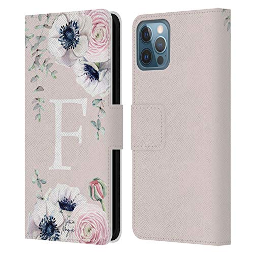 Head Case Designs Officially Licensed Nature Magick Letter F Floral Monogram Pink Flowers Leather Book Wallet Case Cover Compatible with Apple iPhone 12 / iPhone 12 Pro