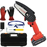 Mini Chainsaw, Uiong Cordless Rechargeable Power 4-Inch Chain Saw One-Handed Portable Electric Pruning Shears Pruner for Tree Branch Wood Cutting with Gloves Goggles