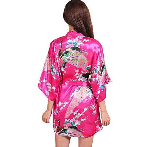 ZSDGY Schön Feminine Pyjamas/Kunstseide Cardigan Style Nachthemd H-M