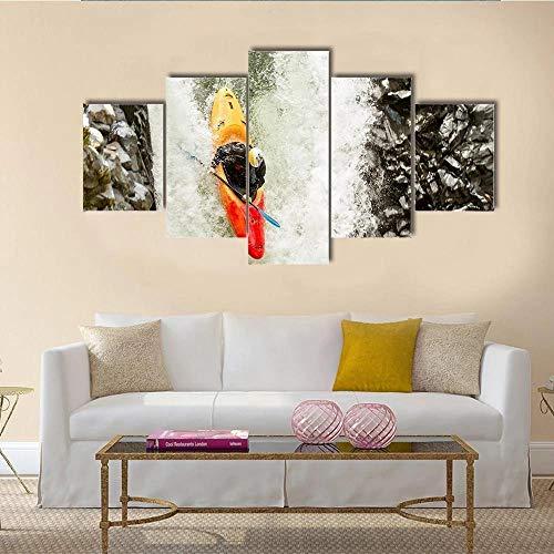 QQQAA Cuadros Lienzo salón 5 Partes Modernos Cuadros impresión 5 Piezas XXL kayakista Valiente en una posición de Buceo Vertical impresión Lienzo Fotografía Imagen Decoración Hogar Listo Colgar