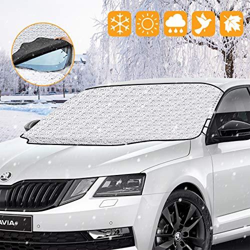 laxikoo Frontscheibenabdeckung Auto Scheibenabdeckung Magnet Faltbare Windschutzscheibe Abdeckung Abnehmbare Auto Abdeckung für die Windschutzscheibe gegen Schnee, Frost, EIS, Sonne, und Staub