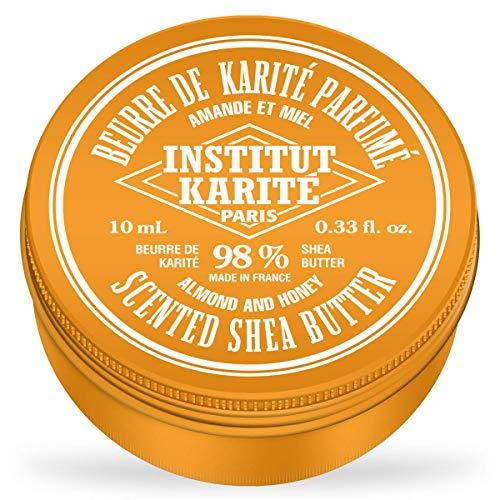 Institut Karité Paris – 98% Pur Beurre de Karité parfum Amande et Miel 10ml – Produit naturel pour cheveux, corps et visage – Pure Shea Butter for body, face and hair