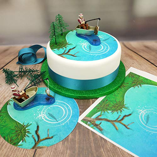 Fisherman Cake Topper Set (Fisherman & Boat/Fishpond Topper/Ribbon) (7.5 Round disc)