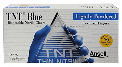 TNT Blue Nitrile, Lightly Powdered Disposable Gloves - Box Size Large