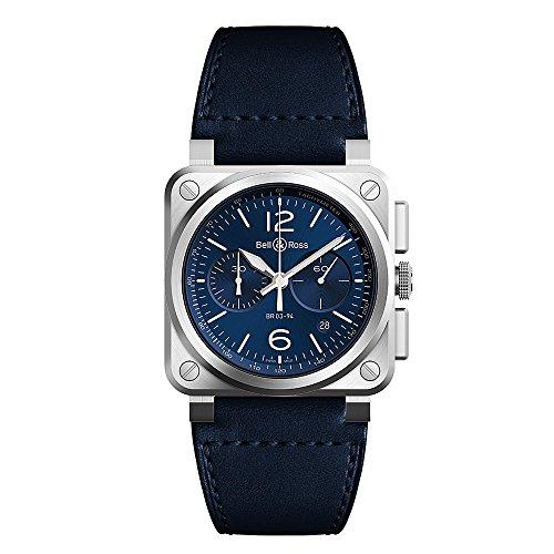 Bell & ROSS br0394-blu-st/Sca cronografo da uomo Aviation blu acciaio cinturino in...