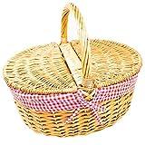 ToCi Cesta de mimbre con tapa, 40 x 30 x 40 cm, cesta de la compra ovalada de mimbre, con muebles de tela