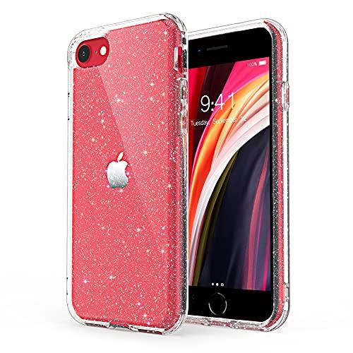 ULAK Coque iPhone SE 2020 Paillettes, iPhone 8/7 Transparente Étui Housse Souple Bumper TPU Protection Antichoc Anti-Rayures Coque pour Apple iPhone SE 2020/iPhone 8/iPhone 7 4,7 Pouces, Transparente