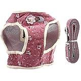 Imbracatura per Cani e guinzaglio, Miscela di Cotone Traspirante Pet Dog Chest Harness Cat Vest Fascia Toracica con Tirante per Camminata Quotidiana(Vino Rosso M)