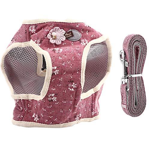 Hundegeschirr und Leine Set Atmungsaktive Baumwollmischung Haustier Hund Brustgeschirr Hundegeschirr Weste und Hundeleine Katze Hund Brustgurt Geschirr für Walking Laufen Training(Rot S)