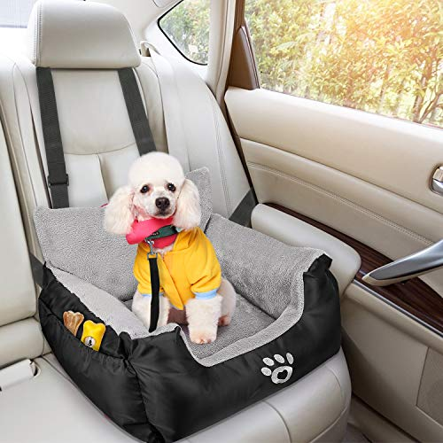 FAREYY Dog Car Seat for Small Dogs or Cats, Pet Booster Seat Travel Dog Car Bed with Storage Pocket and Clip-On Safety Leash, Washable Warm Plush Dog Car Safety Seats (Black)
