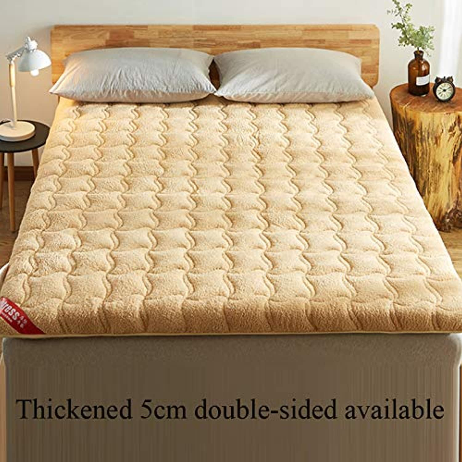 Mattress,Thickening Tatami Mat Student Dormitory Single Double Lamb Cashmere Bed Mat Four Seasons Universal Elasticated Corner Straps-C 90x200cm(35x79inch)