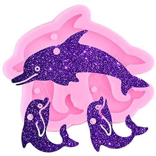 LIUXIYUANG Molde de Silicona de delfín Brillante Brillante Animales Resina epoxi moldes de Llavero artesanales DIY Collar Hecho a Mano encantos Que Hacen Molde de joyería