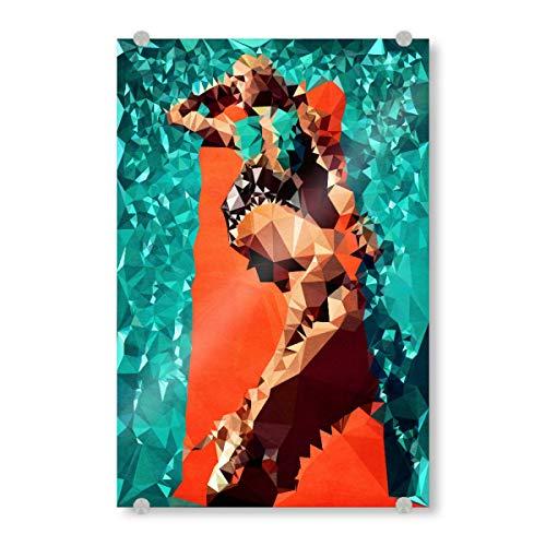 artboxONE Acrylglasbild 45x30 cm Menschen Saint Tropez Bild hinter Acrylglas - Bild Frau Swimming Pool Baden