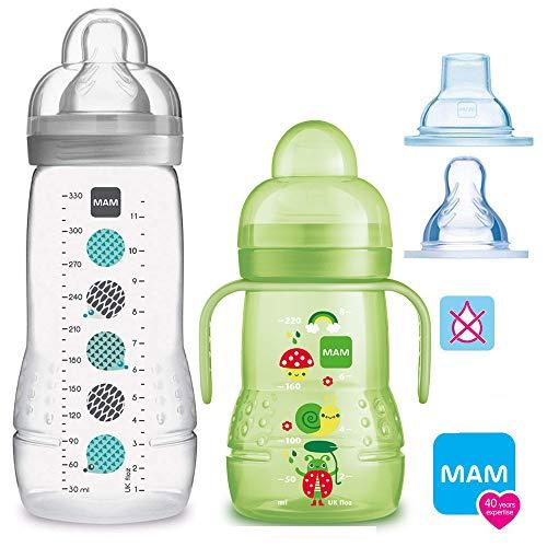 MAM Bottiglie Baby Easy Active Baby Bottle Set//UNI//1X Baby Bottle 270ML con tettarella GR. 2/1X MAM Trainer con aspirapolvere & Soft di Beccuccio