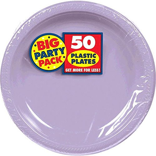 Lavender Big Party Pack Plastic Plates | 10.25u0022 | Pack of 50 | Party Supply