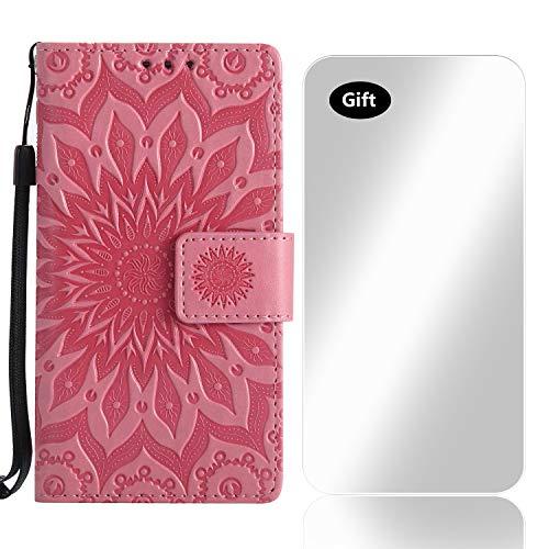 Sony Xperia XZ2 Hülle, Bear Village® Leder PU Cover Magnet Filp Brieftasche Schutzhülle mit Kostenlos Schutzfilm aus Gehärtetem Glas für Sony Xperia XZ2 (#3 Rosa)