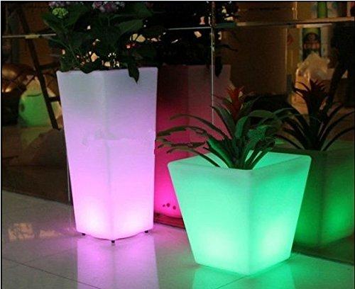 Gowe Pot de fleurs lumineux à LED pour extérieur avec batterie sans fil 26 cm