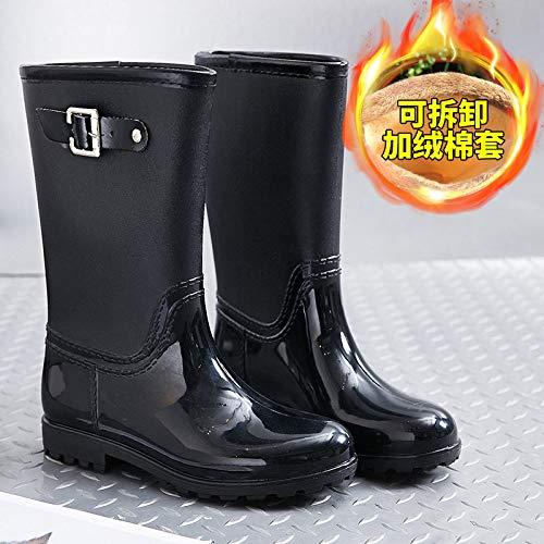 Regenlaarzen voor vrouwen, Koreaanse versie van de riem gesp zwart Plus katoenen sokken eenvoudige mode dameswaterschoenen anti-slip waterdichte retro wellington wild slijtvaste regenlaarzen Women'S