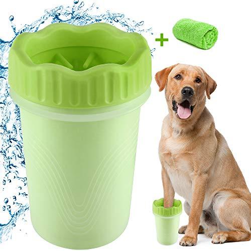 Limpiador de Patas de Perro,Limpiador De Huellas para Perros Portatil Cepillo de Limpieza para Mascotas,Limpieza Patas Perro Gato Limpiador Lavado De Pies Copa con Toalla