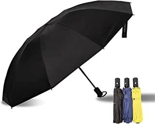 Zen Premium l Compact Umbrella - 10 Ribs, Lightweight, Strong Windproof, 210T Black Coated Pongee Fabric with Teflon Coating for UV Protection, Automatic Umbrella with Auto Open/Close Button