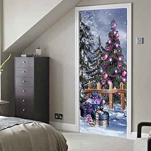 BXZGDJY 3D Vorhang Tür Wandbilder Herausnehmbare Pvc Wasserdicht Wallpaper Selbstklebende Wandbilder Für Festival Schlafzimmer Home Tür Aufkleber Farbe Weihnachtsbaum 77X200Cm