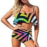 Bikini colorido gran triángulo traje de baño para las mujeres traje de baño de dos piezas agua más el tamaño Volantes Strappy Halter Set