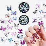 GOTONE 100PCS 3D Charms per unghie Farfalla in resina + 2boxes Multi-size Perle d'imitazione Round complete Perla Gioielli per unghie Decorazione per nail art (100 pezzi Colori casuali farfalla mista)