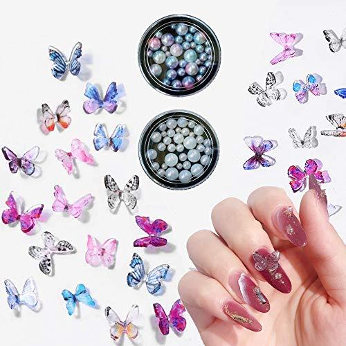 GOTONE 100PCS 3D Nagelzauber Harz Schmetterling + 2Boxen Multi-Größe Imitationsperlen Volle Runde Perle Nagelschmuck Nail Art Dekoration (100 Stück Zufällige Farben gemischter Schmetterling)