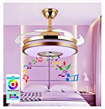 Sweety House 36'Modern Smart Bluetooth Music Player Ceiling Fan With Light, With Remote Control Dimmable 7 Colors 3 Speed Stealth Blade LED Kit Silent Motor Fan Chandelier (36-style 2)