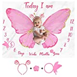Butterfly Baby Monthly Milestone Blanket Girl Watercolor Baby Girl Monthly Blanket Age Photo Props Soft Fleece Blanket Milestone Newborn Baby Gift Idea Photography Backdrop